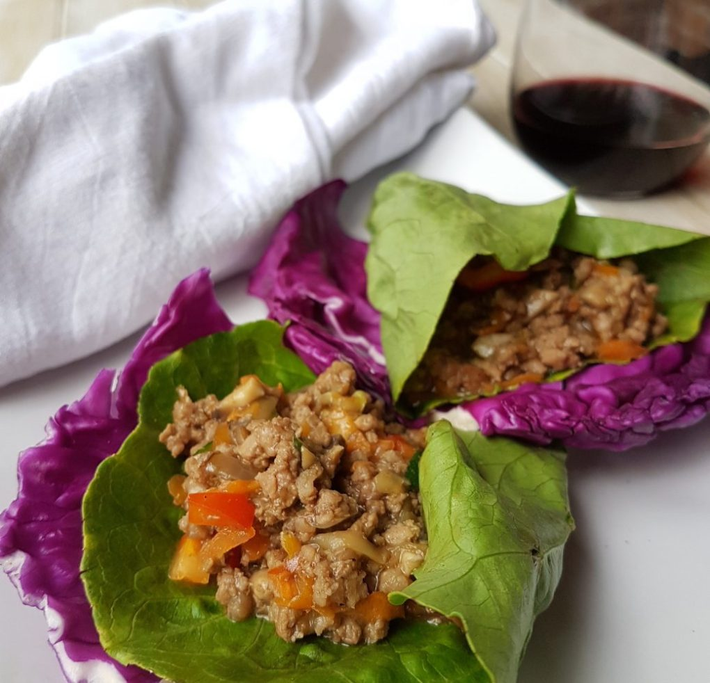 Beef san choi bao in lettuce wraps for fast easy healthy dinner with lots of vegetables