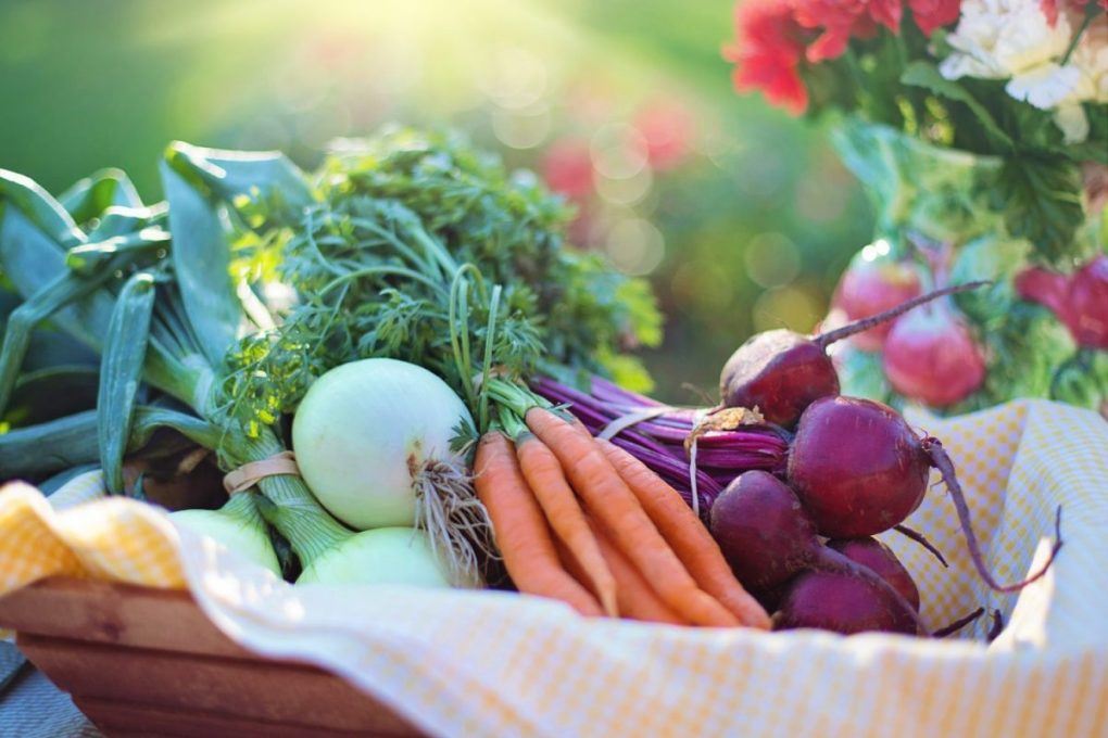 Fresh vegetables including onions carrots and beets eaten to provide dietary fiber