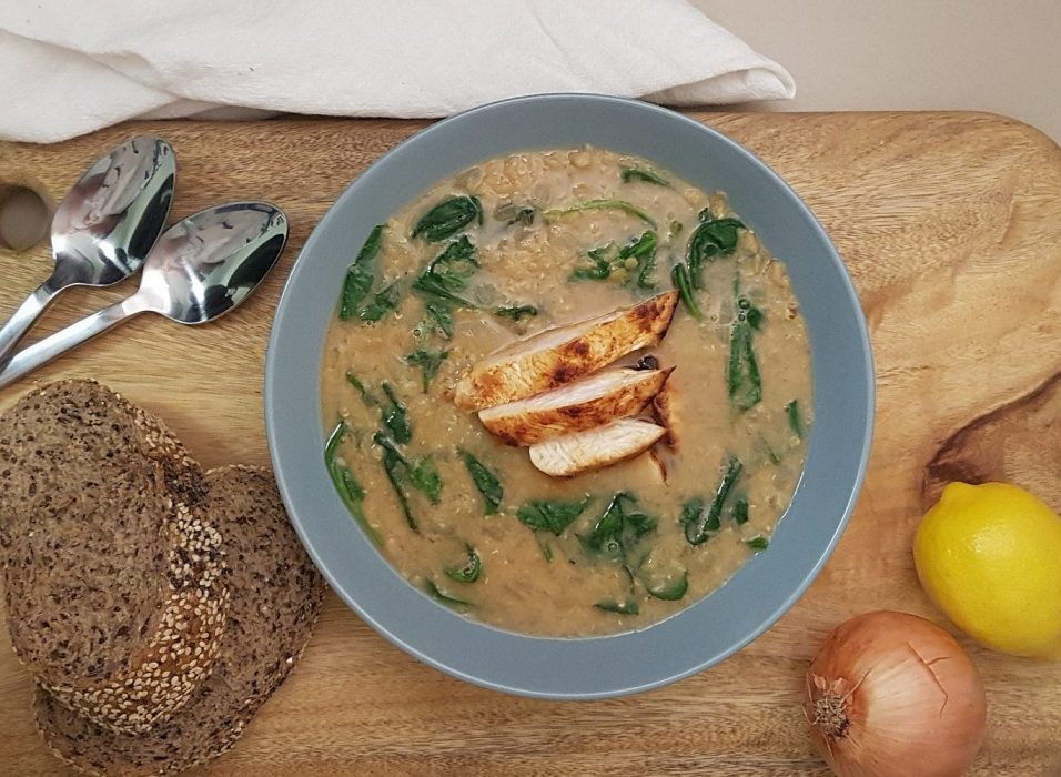 A healthy dinner of Red Lentil and Spinach Soup with Lemon Paprika Chicken