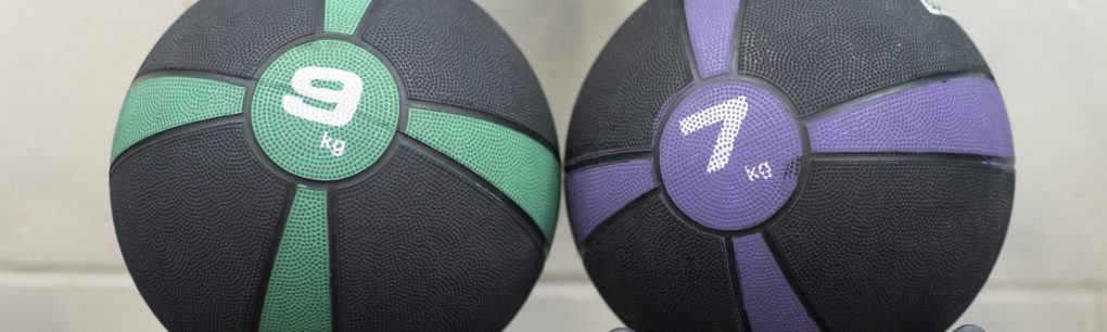 two medicine balls for at home strength training exercise and fitness