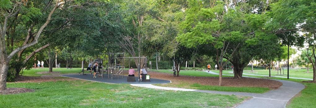 Outdoor gym and walking path at Moorlands Park Toowong
